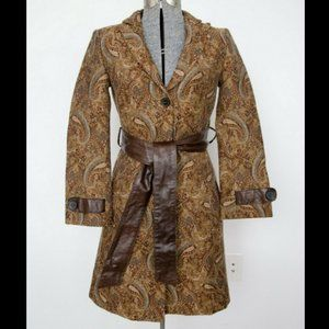 Mackage Vintage Leather and Paisley Wrap Coat XS